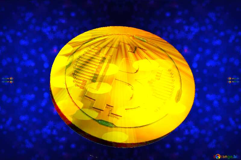 Bitcoin gold Rays coin Blue Snowflake Background №40700