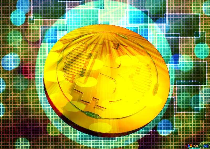 Bitcoin gold Rays coin Circle Frame №49678