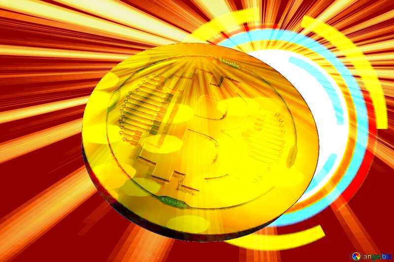 Bitcoin gold Rays coin Circle Frame №49680