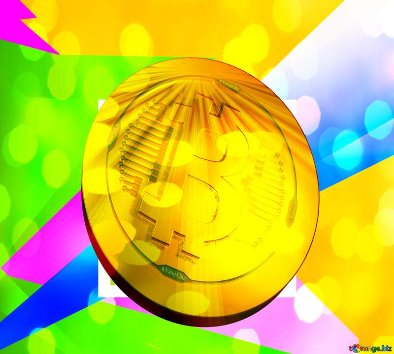 Bitcoin gold Rays coin Illustration Colorful Template Background №49675
