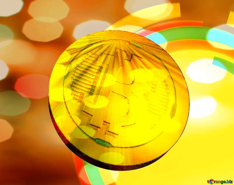 Bitcoin gold Rays coin Infographics Circle Frame №49680
