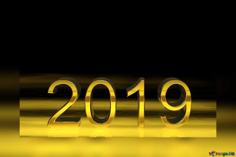 2019 3d render gold digits fuzzy frame border №51520