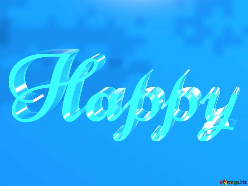 Happy glass blue background №51523