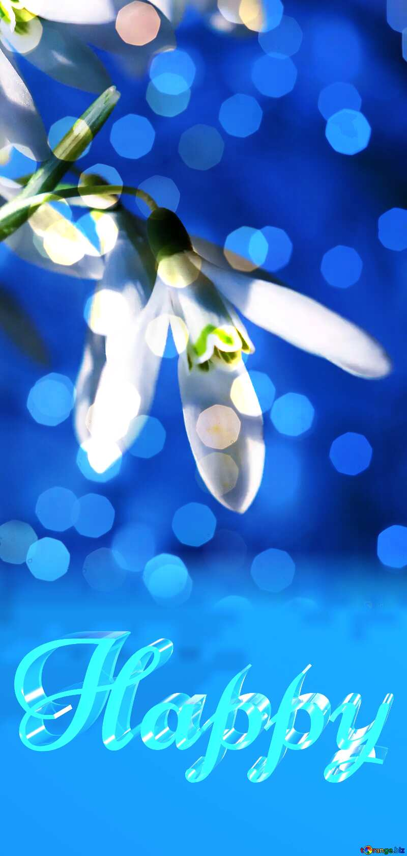 Happy glass blue background Flower Spring bokeh №38343