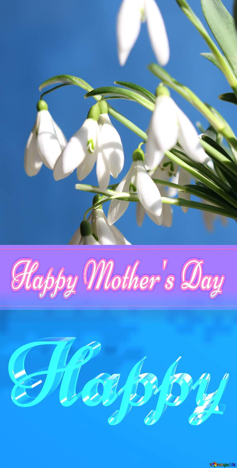 Happy glass blue background Happy Mothers Day №38346