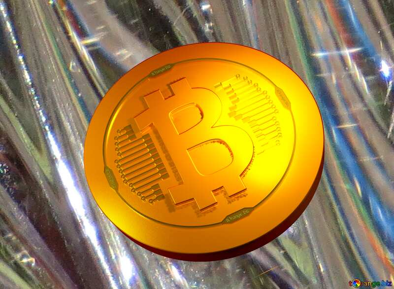 gold bitcoin on glass background №18044