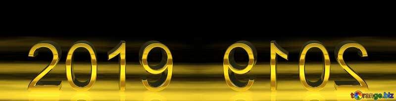 2019 3d render gold digits mirror №51520