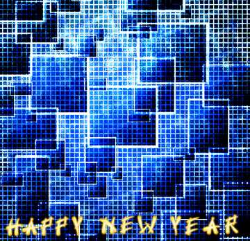 El efecto de la luz. Fragmento. Card with text Happy New Year.