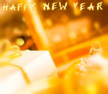 The effect of hard light. Very Vivid Colours. Blur frame. Fragment. Card with text Happy New Year.