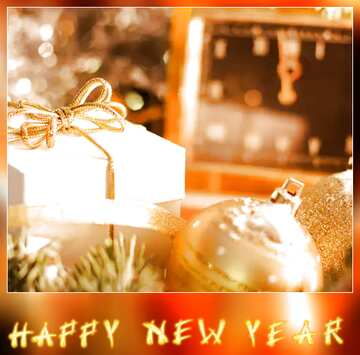 The effect of light. Very Vivid Colours. Blur dark frame. Fragment. Card with text Happy New Year.