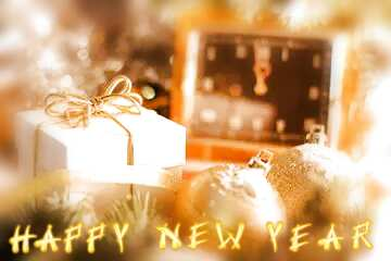 The effect of light. Very Vivid Colours. Blur frame. Card with text Happy New Year.