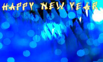 The effect of hard light. Very Vivid Colours. Card with text Happy New Year.
