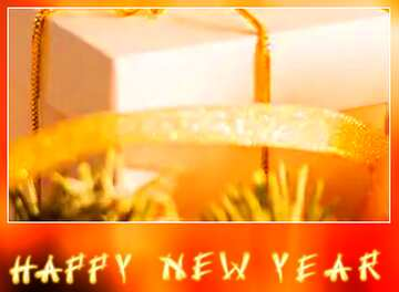 Very Vivid Colours. Blur dark frame. Fragment. Card with text Happy New Year.
