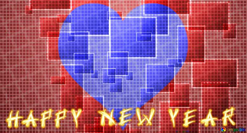 happy new year  card techno background love heart  cell line ruler texture №49678