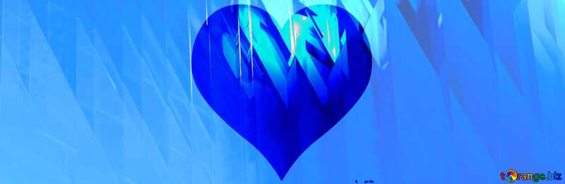 Blu  heart  futuristic shape. Computer generated abstract background. №51524