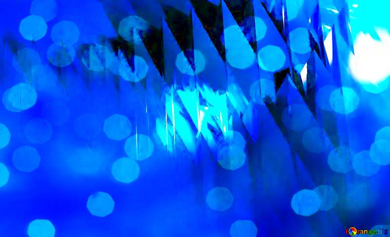 Blue futuristic shape. Computer generated abstract background. Bokeh Card Template №51524