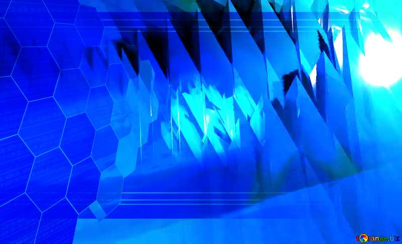 Blue futuristic shape. Computer generated abstract background. Business Tech Presentation Concept №51524