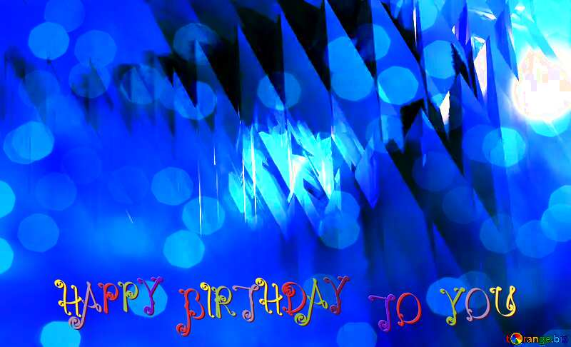 Blue futuristic shape. Computer generated abstract background. Happy Birthday Card №51524
