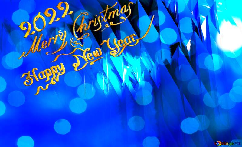 Blue futuristic shape. Computer generated abstract background. Happy New Year 2022 Card Background Merry Christmas №51524