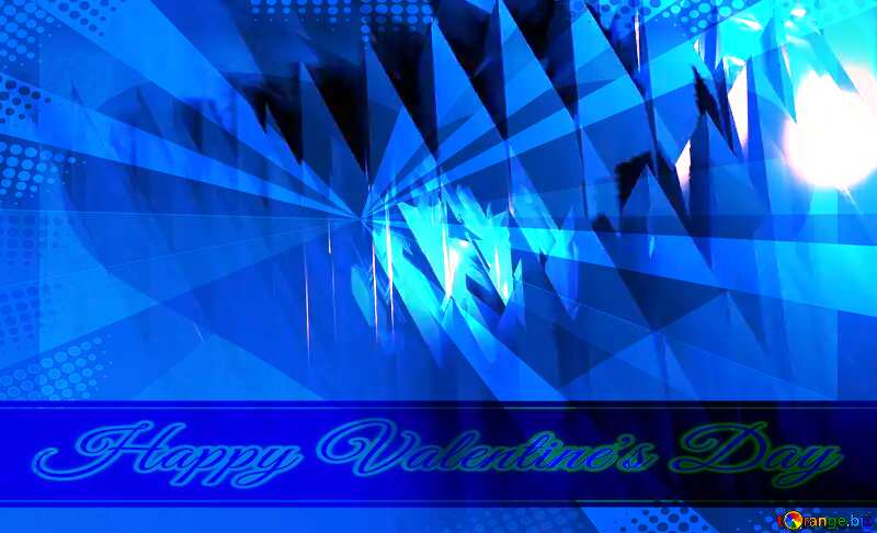 Blue futuristic shape. Computer generated abstract background. Happy Valentine`s Day Lettering Card №51524