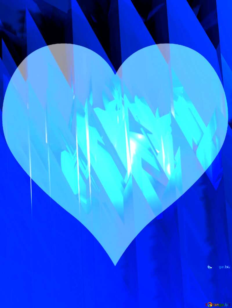 Blue futuristic shape. Computer generated abstract background. Heart Love №51524