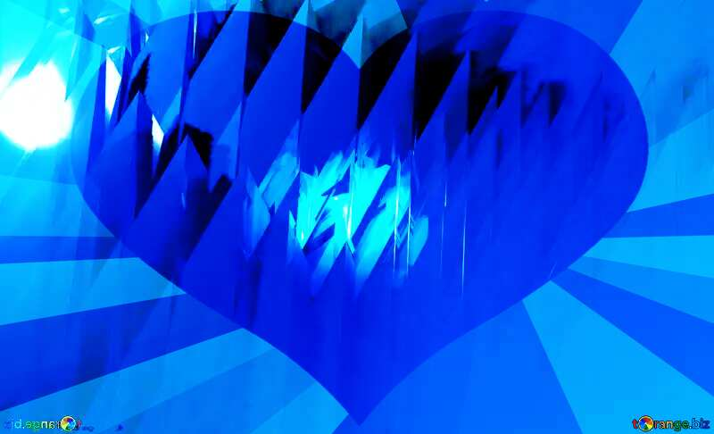 Blue futuristic shape. Computer generated abstract background. Heart Rays №51524