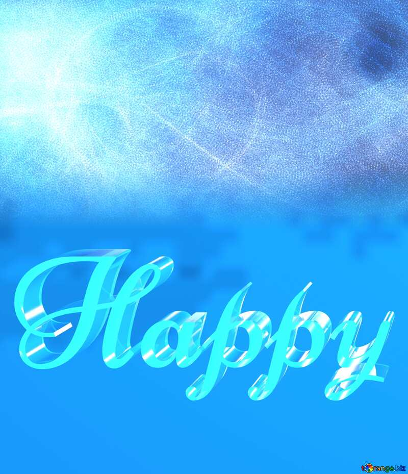 Happy glass blue background №40636