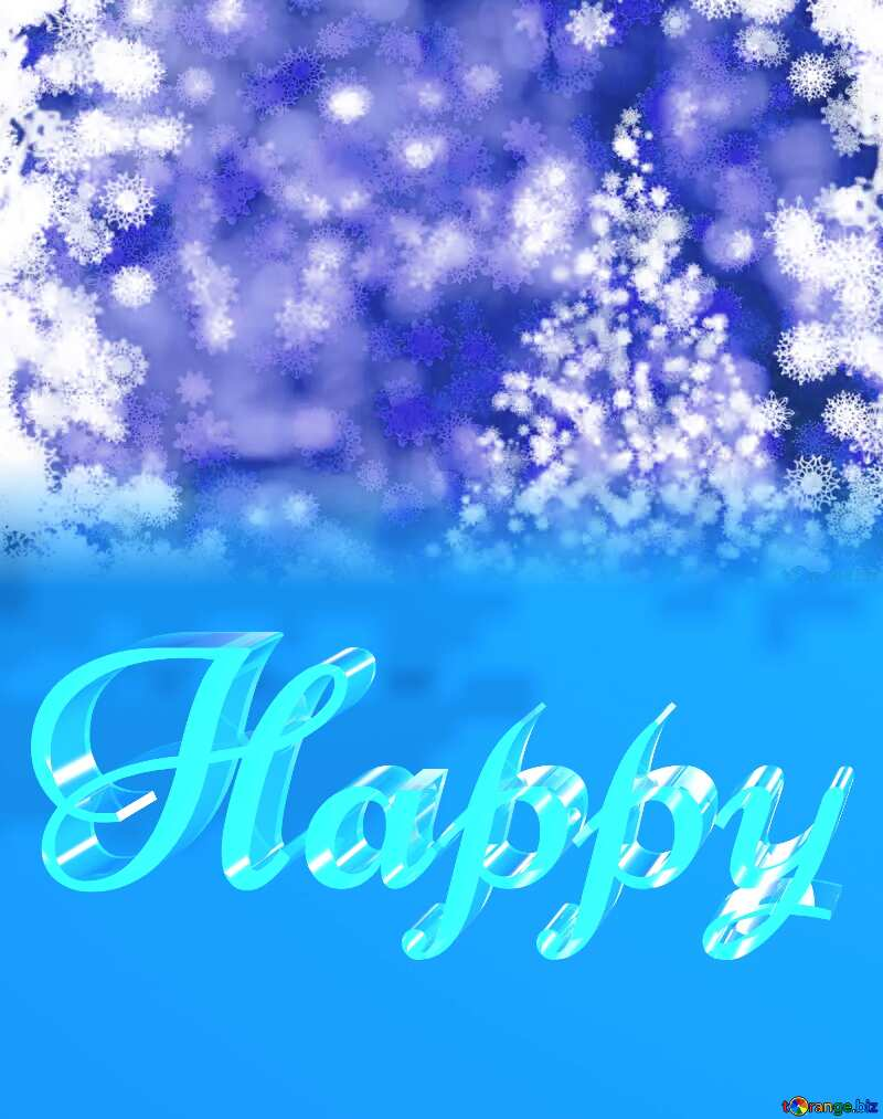 Happy glass blue background Christmas №40703