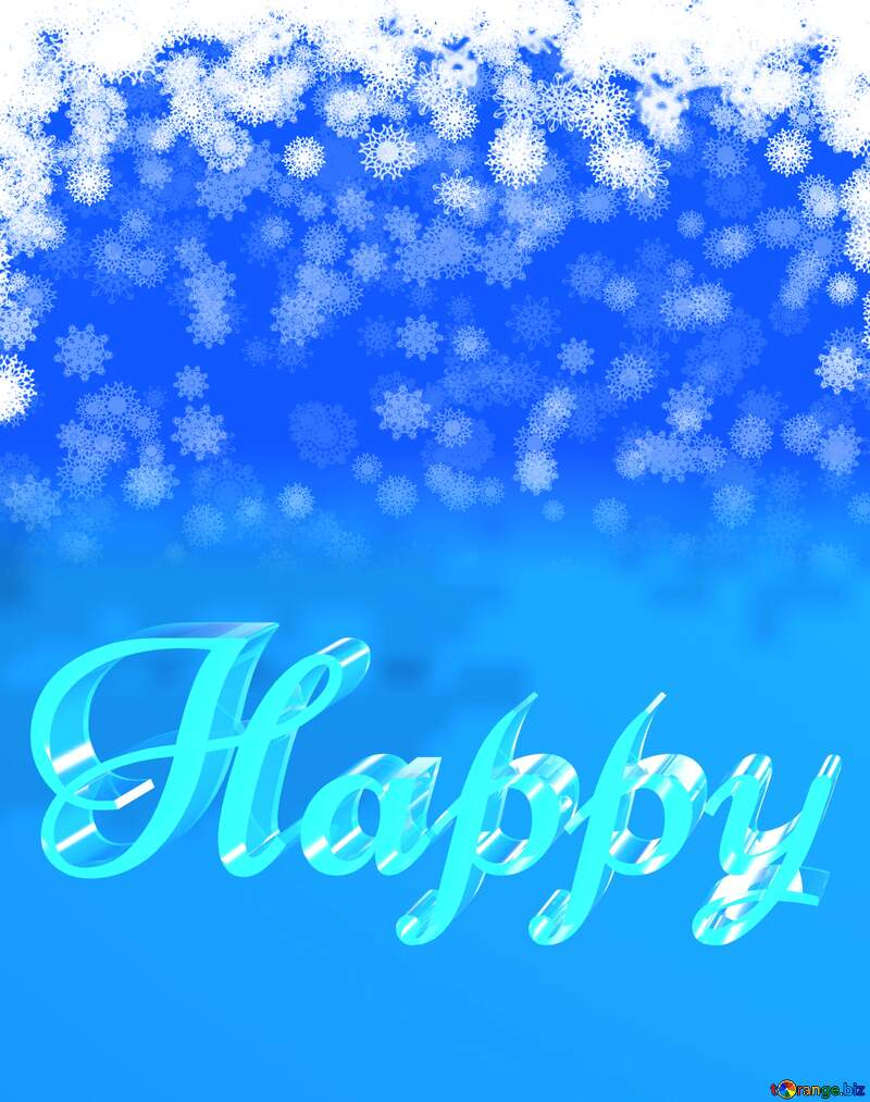 Happy glass blue background Christmas snowflakes №40662