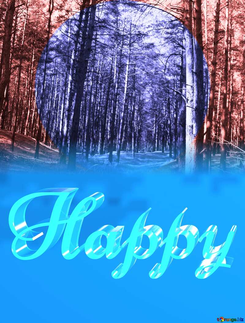 Happy glass blue background Frame Infographics Circle Forest №2145
