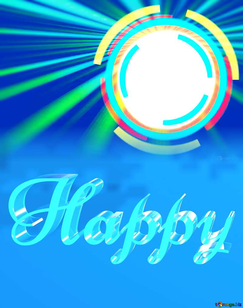 Happy glass blue background Infographics Frame Circle Rays №49680