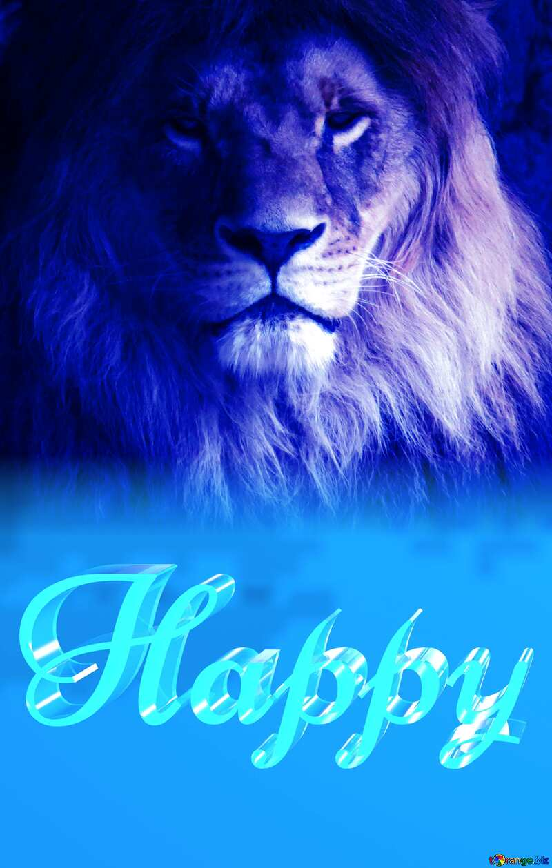 Happy glass blue background Lion №44974