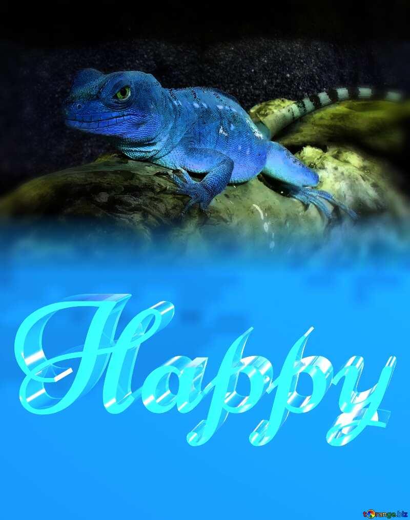 Happy glass blue background Lizard №10697