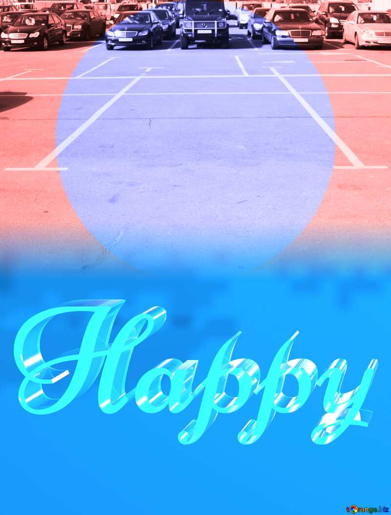 Happy glass blue background Parking free place №861