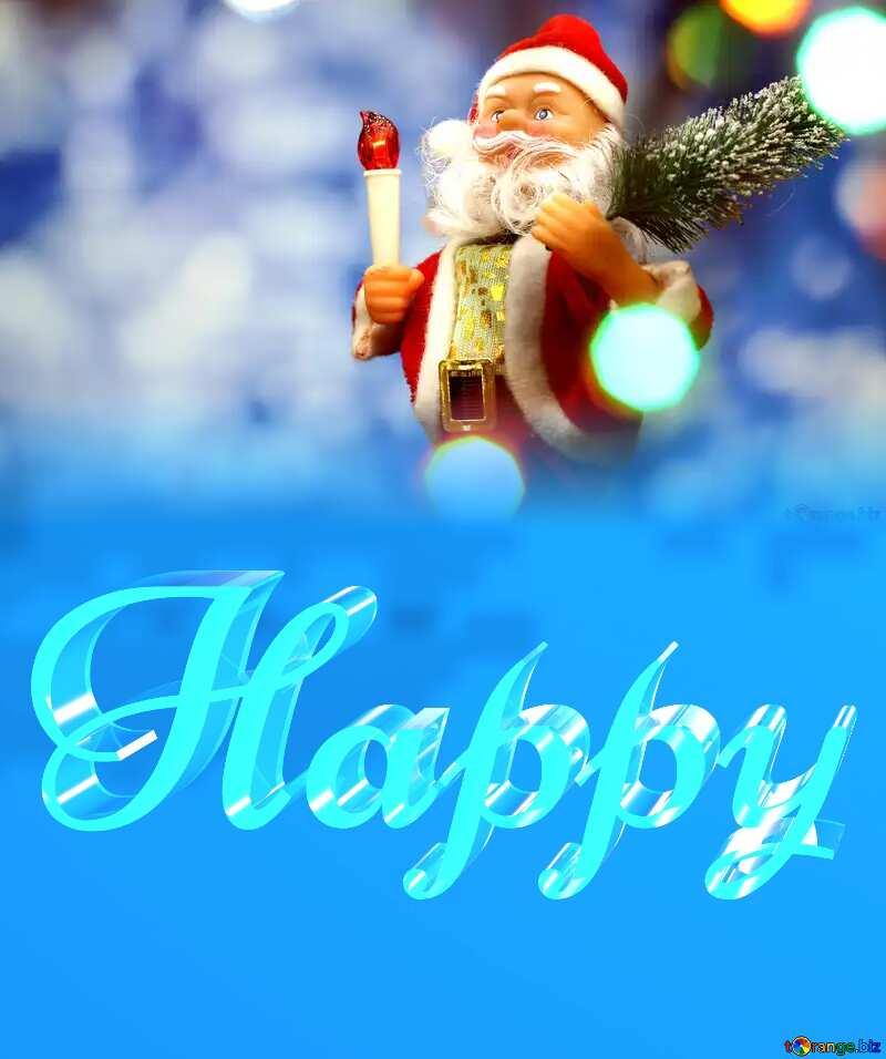 Happy glass blue background Santa Claus №48161
