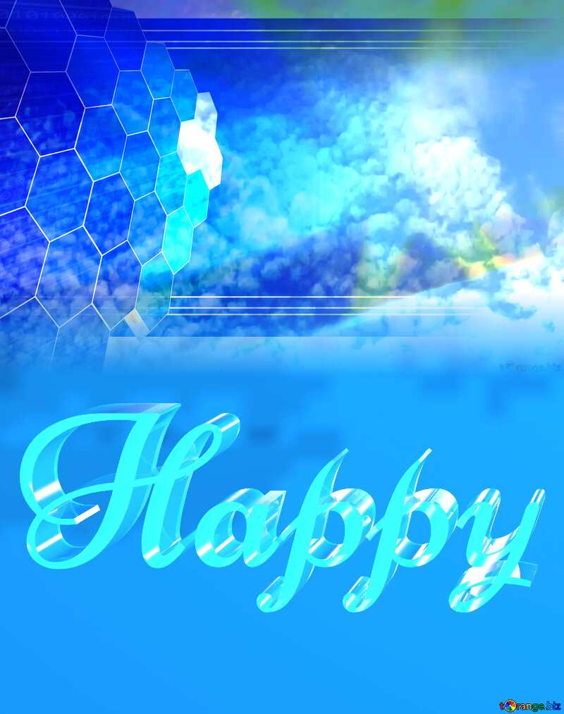 Happy glass blue background Sky Concept Presentation №39298