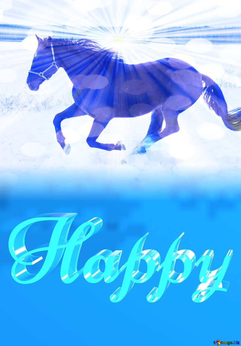 Happy glass blue background Snow Horse №18191