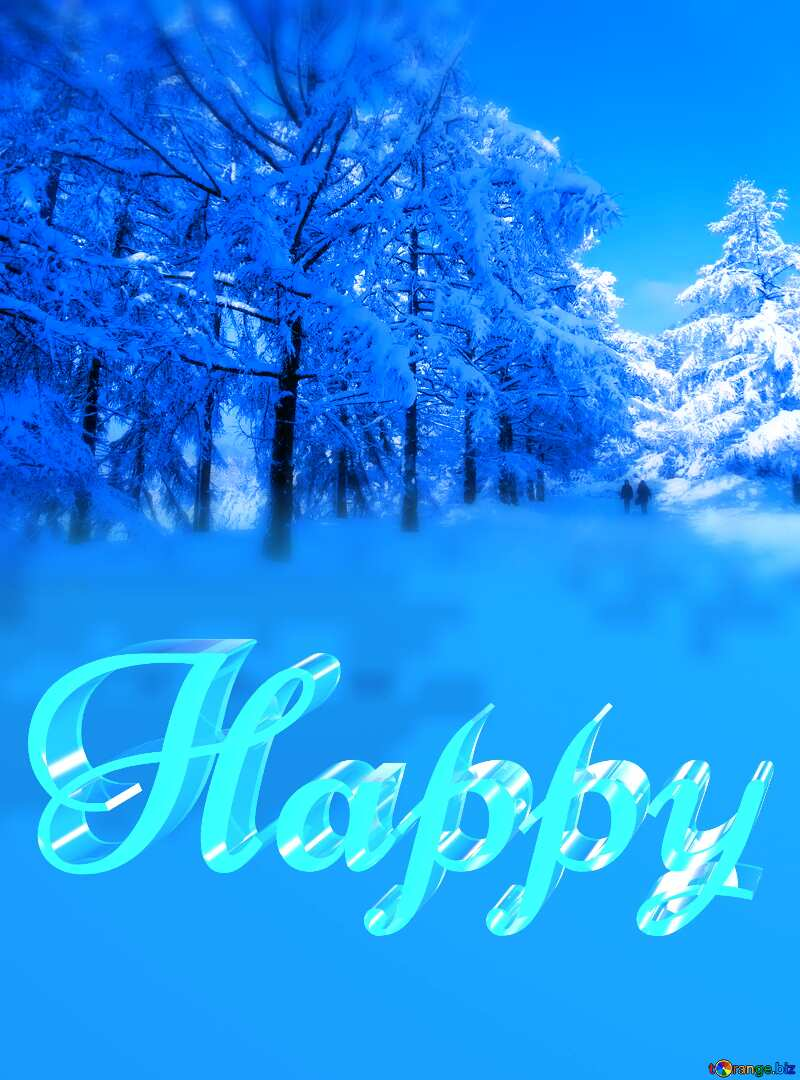 Happy glass blue background Snow Winter Forest №10568