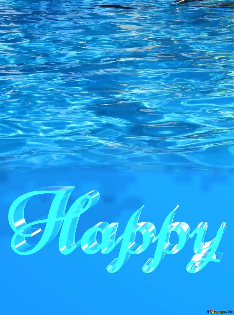 Happy glass blue background Water Clear №25493