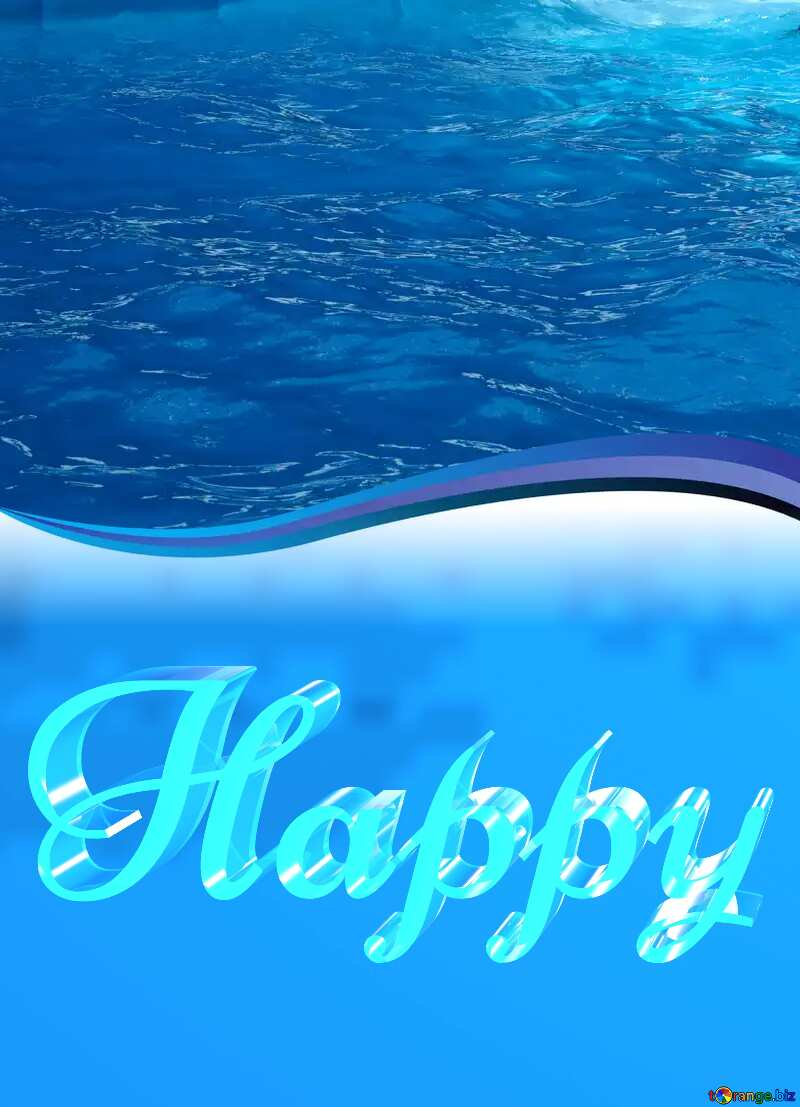 Happy glass blue background Water Curved Border №25173