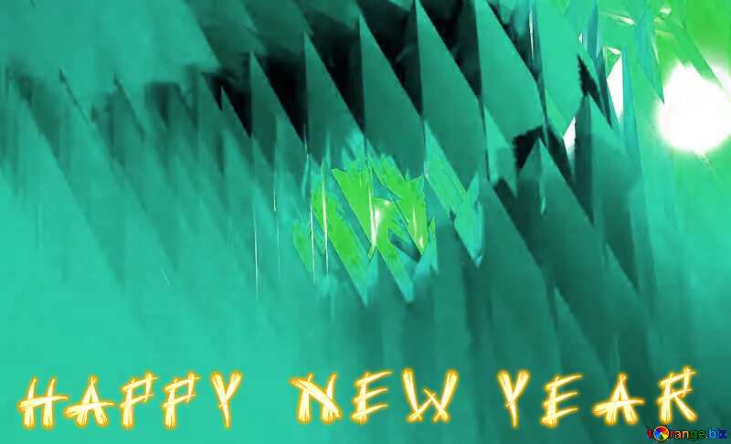 Happy New Year Futuristic Shape Abstract Generated 3d Render Reflections green background №51524