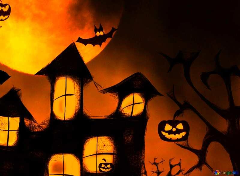 Halloween moon house background №40470