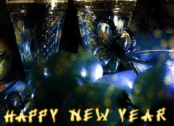 The effect of light. Fragment. Card with text Happy New Year.