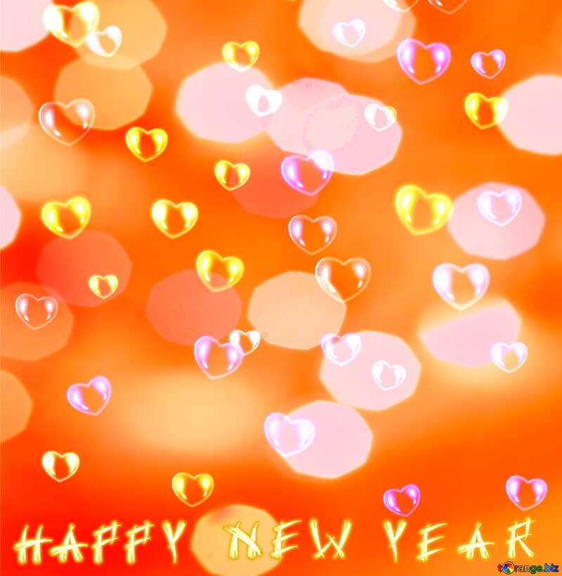 Background hearts Happy New Year №39946