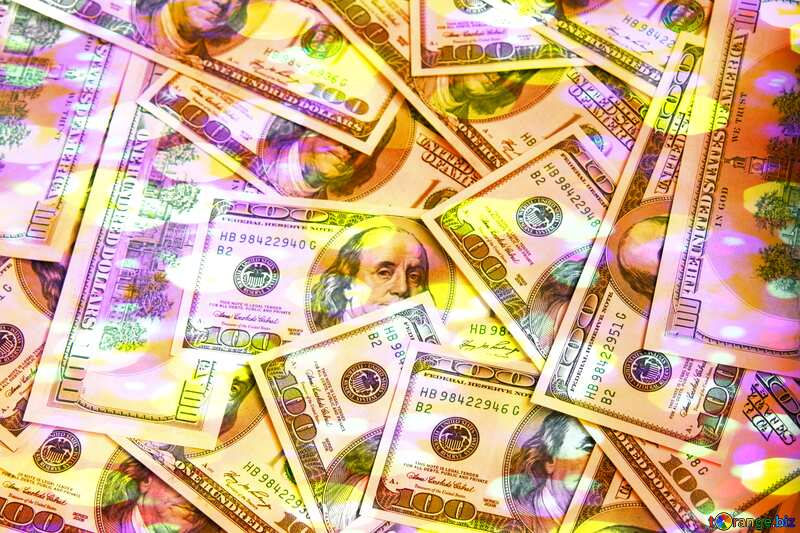 Dollars bokeh lights colors background №1507