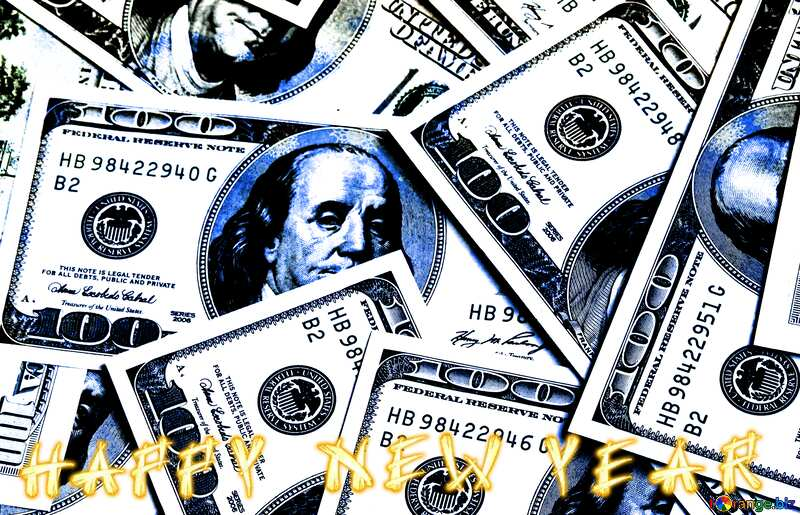Dollars blue text happy new year background №1507