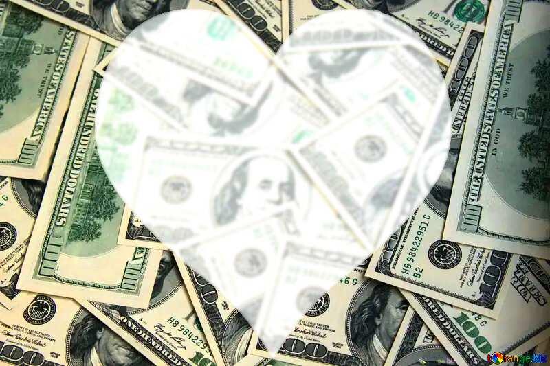 Dollars love hrart  background №1507