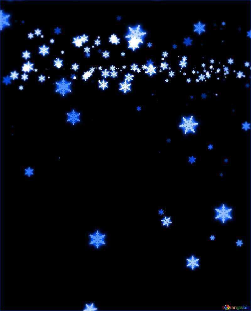 Dark blue  background falling snowflakes №40011