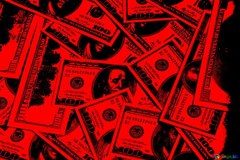 Dollars red background №1507