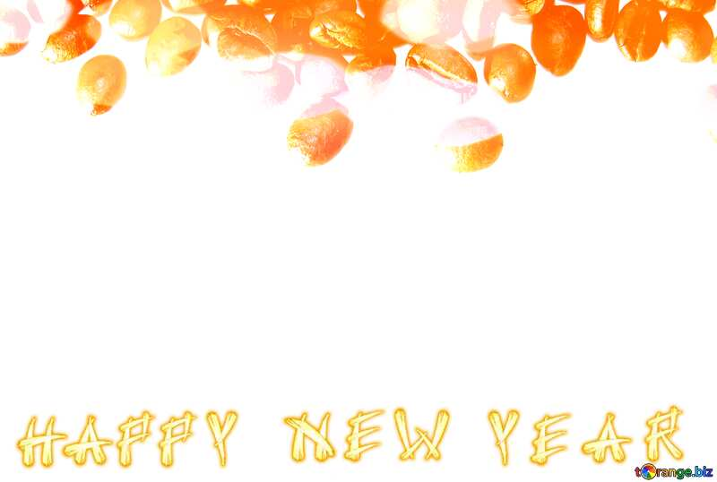 Happy New Year Frame of coffee beans on white background №32291
